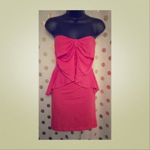 H&M coral red ruffle dress